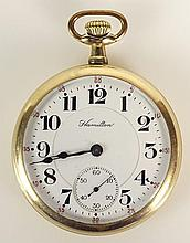 Antique Hamilton Gold Filled Pocket Watch. Inscribed on Interior of Case: Rev J.A. Hopkins From O.A.H. and Family '92-June 25, '17. Signed Hamilton On Dial. Working Order, Good Condition. Measures 2 Inches Diameter. The gallery does not warranty the
