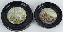 Two (2) 19th Century English Prattware Porcelain Pot Lids, Trafalgar Square and a Family Fishing Scene. Unsigned. Trafalgar Square