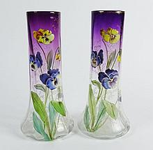 Pair of Mont Joye of Paris, France Amethyst on Clear Tall Art Glass Enameled Vases,