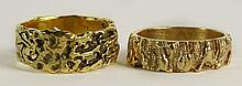 Two (2) Men's Vintage 14 Karat Yellow Gold Nugget style Rings. Signed 14K. Surface Wear from Normal Use Otherwise Good Condition. Ring Size 11-1/2. Approx. Weight: 13.5 Pennyweights. Shipping $28.00