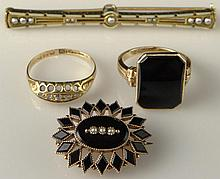 Miscellaneous Lot of Four (4) Antique or Antique Style Gold Items Including: 14 Karat Yellow Gold and Black Stone Ring Size 7, 14 Karat Yellow Gold, Black Stone and Seed Pearl Pin or Pendant, 18 Karat Yellow Gold English Hallmarked Diamond Ring Size