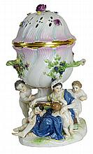 19th Century Meissen Porcelain Figural Potpourri Urn