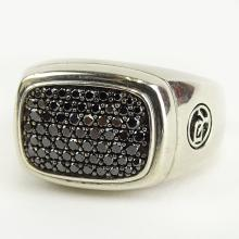 Men's David Yurman Pave Set Black Diamond and Sterling Silver Ring with Box. Signed. As New condition. Ring size 11. Approx. weight: 14.95 pennyweights. Shipping $28.00