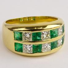 Lady's Fine Emerald, Diamond and 18 Karat Yellow Gold Ring. Emeralds with vivid saturation of color. Diamonds G-H color, VS clarity. Signed 750. Very good condition. Ring size 7. Approx. weight: 6.35. Shipping $26.00