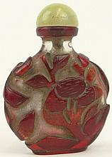 19th Century Chinese Peking Glass Red Overlay Snuff Bottle with Chipped Ice Ground and High Relief