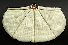 Judith Leiber Snakeskin Handbag with Gold Tone Hardware and Clasp. Signed. Very Minor Wear Otherwise Good Condition or Better. Measures 5-1/4 Inches Tall and 8-1/4 Inches Wide. Shipping $38.00