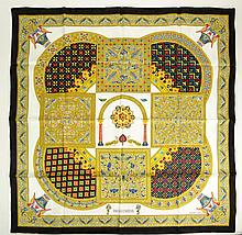New and Unused French Hermes Silk Twill Scarf with Byzantine Design. Signed. As New Condition in Original Plastic Sleeve with Paperwork. Measures 36 Inches Square. Shipping $24.00
