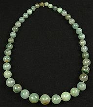 Chinese Heavy Green Jade Graduated Bead Necklace. Unsigned. Very Good Condition. Beads Range from 14mm to 25mm, Necklace Measures 37 Inches Long. Shipping $36.00