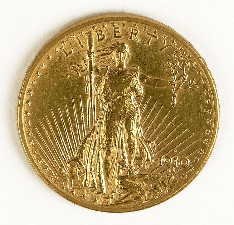 1910 St. Gaudens American Twenty Dollar Gold Coin. Good Condition. Domestic Shipping $12.00