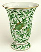 Vintage Hungarian Herend Painted and Gilt Porcelain Vase with Vine and Bird Decoration. Backstamp (logo) to Base. Good Condition. Measures 7-7/8 Inches tall and 5-1/4 Inches Wide at Rim. Shipping $36.00
