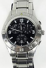 Men's vintage Movado stainless steel chronograph with quartz movement. Surface scratches. Running. The gallery does Not warranty the running condition of watches. Movado box. Case measures 38mm. Bracelet measures approx. 2-1/2 inches. Shipping $30.00