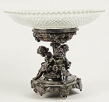 Antique Silver Plate and Crystal Figural Compote. Unsigned. Minor Chips to Teeth or in Overall Good Condition. Measures 10-1/4 Inches Tall, 12 Inches Diameter. Shipping $95.00