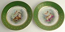 Pair of Antique Crown China Austria Hand Painted Porcelain Plates. Both Depicting Semi-Nudes and Cherubs With Gilt Decoration. Titled Chloris and Aglaia, Signed with Back Stamp. Good Condition. Measures 8-1/2 Inches Diameter. Shipping $35.00