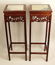 Pair Vintage Chinese Carved Hardwood Pedestal Stands With Marble Inserts. Bamboo Motif. Rubbing and Wear or in Good Condition. Measures 35-1/2 Inches Height, 12-1/2 Inches Square. We will not ship this item due to its size. We will happily recommend