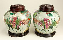 Pair Vintage Chinese Hand Painted Porcelain Ginger Jars. Hardwood Lids and Bases. Crazing, Hairline Losses. Measures 9-1/2 Inches Height, Including Bases and Lids. Shipping $125.00