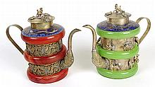 Pair of Chinese Modern Agate Banded Cloisonne and Metal Alloy Tea Pots. Figural Finial and Decoration. Character Mark Signature on Bottom. Good Condition. Measures 5 Inches Tall. Shipping $35.00