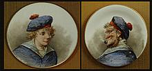 Pair of Early 20th Century Hand Painted Porcelain Plates in Shadow Box Frames