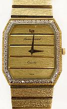 Man's Vintage Lucien Picard 14 Karat Yellow Gold Quartz Bracelet Watch with Bezel accented with small Diamonds. Signed 14K. Good Condition with Original Box. Running. The gallery does Not Warranty the Running Condition of Watches. Measures 7-1/2