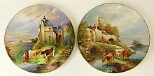 Pair of Vintage Hand Painted Porcelain Chargers.