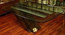 Retro Cantilever Mixed Materials Dining Table. Circa 1970's. Glass top, base comprised of laminate over wood with metal struts. Unsigned. Condition: Scratches, Wear. Shipping: Third Party