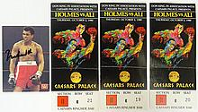 Set of Three (3) 1980 Ticket Stubs Plus Autographed Card from Holmes and Ali Fight October 2, 1980 Caesars Palace Las Vegas. Good Condition. Shipping $15.00