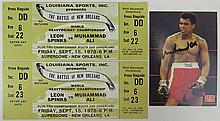 Set of Two (2) 1978 Ticket Stubs Plus Autographed Card from Leon Spinks and Muhammad Ali Fight September 15, 1978, Superdome, New Orleans.