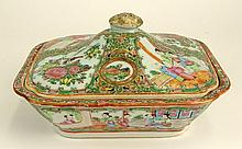 Antique Chinese Export Porcelain Rose Medallion Tureen. Unsigned. Small Losses on Edge as well as Wear. Measures 5 Inches Height, 9-1/2 Inches Length, 8 Inches Width. Shipping $85.00