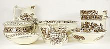 Ten Piece Antique English Transferware T. Furnival and Co. Toilet Set