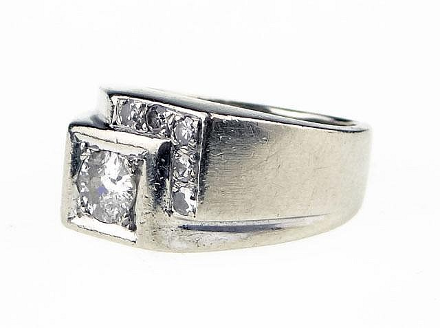 Man's Vintage Fourteen Karat White Gold and Diamond Ring. Signed 14K. Surface Wear from Normal Use Otherwise Good Condition. Ring Size 5-3/4. Weight: 5.1 Pennyweights, 8.0 Grams. Shipping $22.00