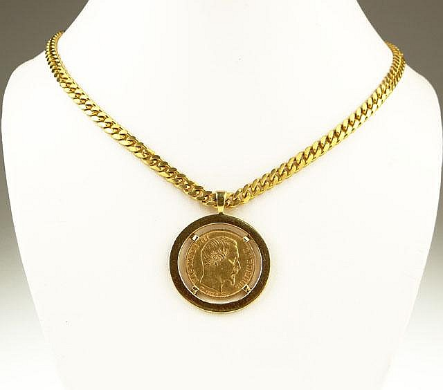 Vintage Eighteen Karat Yellow Gold Pendant and Necklace with French Napoleon III 20 Franc Gold Coin. Surface Wear from Normal Use Otherwise Good Condition or Better. Pendant Measures 1-3/16 Inches Diameter, Chain Measures 25-1/2 Inches Long. Weight: