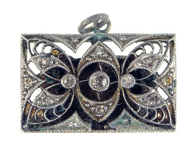 Early 20th Century Diamond and 14 Karat White Gold and Filigree Pendant or Charm. Unsigned. Good to Very Good Condition. Measures 1/2 Inch Tall and 3/4 of an Inch Wide. Weighs 1.8 Pennyweights or 3.0 Grams. Shipping $20.00