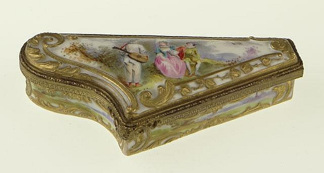 19th Century Royal Vienna Hand Painted, Bronze Mounted and Gilt Decorated Porcelain Hinged Box. Signed Blue Under Glaze Beehive Mark. Very Good Condition. Measures 1-1/8 Inches Tall and almost 5 Inches Wide. Shipping $20.00