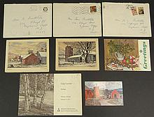 Collection of Luigi Lucioni Italian-American-Manchester, Vermont (1900-1988) Memorabilia Including: Three (3) Christmas Cards with Original Envelopes all in the artist hand and a Postcard Message of a Personal Nature together with a AAA Publishers