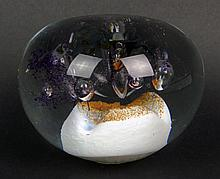 Circa 1993 Glass Paperweight. Etched Signature (illegible), to Base, Possibly Elizabeth Bills and Dated 1993. Good Condition. Measures 3 Inches Tall and 3-5/8 Inches Wide. Shipping $32.00