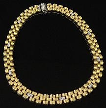 Vintage Italian Hand Made 18 Karat Yellow and White Gold Flexible Link Necklace Accented with Pave Set Round Brilliant Cut Diamonds. Signed. Very Good Condition. Measures 17 Inches Long and 1/2 Inch Wide. Approx. Weight: 45.60 Pennyweights. Shipping