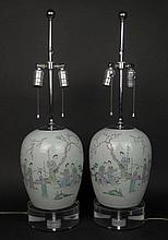 Pair of 19/20th Century Chinese Enamel Decorated Melon Jars with Maidens in Garden Landscape and Calligraphy Decoration. Drilled and Mounted as Lamps with Lucite Bases. Traces of Mark to Base where drilled. Lacking Tops, Drilled and Rubbing Otherwise