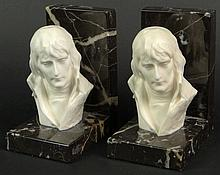 Pair of French Marble and Alabaster Bookends with Carved Busts Depicting a