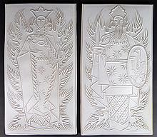 Pair of Unusual Mid 20th Century Glazed Terra Cotta Plaques