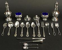 Miscellaneous Sterling Silver and Silver Plate Scrap Lot Including a Few Salvageable Pieces. Items Include: Thirteen (13) Pieces of Silver Plate and Sterling Silver Flatware Items, Some in Scrap Only Condition although most are Sterling together with
