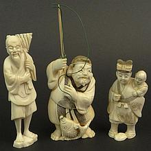 Three (3) Chinese Carved Ivory Figures. Fisherman, Old Man and Woman with Child. Two (2) Signed with Chinese Characters. Very Good Condition. Fisherman Measures 5-1/4 Inches Tall to Top of Pole by 2 Inches Long and 1-1/4 Inches Wide. This item will