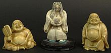Three (3) Chinese Carved Ivory Figures. Two (2) Buddha's and One (1) Female Figure. Each Signed with Chinese Characters on Base. Very Good Condition. Female Measures 2 Inches Tall by 1-1/2 Inches Across. Buddha's Measure Approximately 1-3/4 Inches