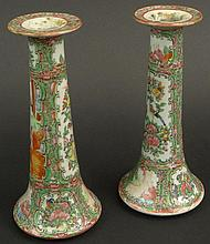Pair of 19th/20th Century Chinese Porcelain Rose Medallion Candlesticks. Each Finely Decorated with Court Scenes, Butterflies, Birds and Flora. Very Good Condition. Each Measures 8 Inches Tall by 3-3/4 Inches Wide. Shipping $35.00