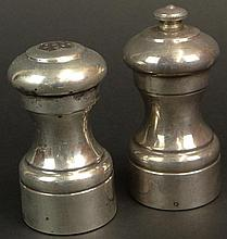 Vintage Italian Sterling Silver over wood Salt Shaker and Pepper Mill. Signed Sterling and Italy. Surface Wear from Normal Use Otherwise Good Condition. Pepper Mill Measures 4 Inches Tall and 1-7/8 Inches Wide at Base. Shipping $38.00