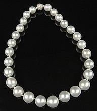 Beautiful Single Strand Twenty Seven (27) Large Graduated White South Sea Pearl Necklace with Pave Set Round Brilliant Cut Diamond and 14 Karat White Gold Clasp. Pearls Range in Size from 13mm to 15.8mm. Pearls with Good Luster and Polish. Clasp