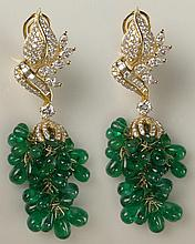 Fabulous Pair of Lady's Emerald, Round Brilliant Cut Diamond, Marquise Cut Diamond, Baguette Diamond and 18 Karat Yellow Gold Chandelier Ear Clips. Diamonds E-F Color, VS Clarity. Sapphires with Vivid Saturation of Color. Very Good Condition. Measure