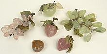 Collection of Vintage Carved Hardstone Fruit Including: One (1) Bunch of Jade Grapes with Leaves (plus a few loose grapes); One (1) Bunch of Rose Quartz Grapes with Leaves; One (1) Agate Fruit Lacking Stem, Two (2) Agate Fruits with Leaves and One