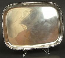 Sterling Silver Rectangular Tray with Gadroon Border. Signed Sterling, #9567X and 12-3/4. Good to Very Good Condition. Measures 12-1/2 Inches Long and 9-3/8 Inches Wide. Weighs 2.777 Troy Ounces. Shipping $43.00