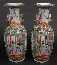 Pair of 19th Century Chinese Porcelain Rose Medallion  Vases. Each Finely Decorated with Overall Court Scenes and Flora. Very Good Condition. Each Measures 11-1/2 Inches Tall by 4-3/4 Inches Wide. Shipping $75.00