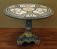 20th Century Neo-Classical style Bronze Mounted Pietra Dura Pedestal Center Table. Unsigned. Good Condition or Better. Measures 33-1/2 Inches Tall and 44 Inches Diameter. We will not ship this item due to its size. We will happily recommend a list of