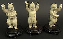 Three (3) Chinese Republic Period Carved Ivory Figures. Unsigned. Very Good Condition. Mounted on Hardwood Bases. Each Measures Approximately 5 Inches Tall by 2-1/2 Inches Wide. Bases Measure 1 Inch Tall by 3-1/2 Inches Diameter. This item will only